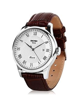 Mens Business Leather Band Watch, Military Casual Analog Quartz Waterproof Watches With Calendar Date Dress Fashion Wristwatch   Brown by Cofuo