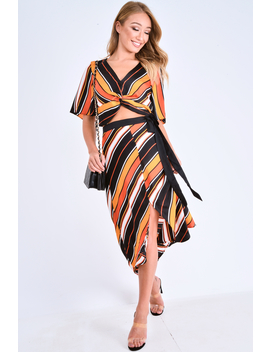 Multi Stripe Wrap Front Crop Top And Belted Midi Skirt Co Ord   Cayli by Rebellious Fashion