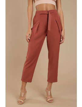 Joa Sienna Mauve Belted Waist Trousers by Tobi