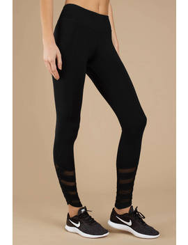 Gorgeous Gal Black Mesh Detailed Leggings by Tobi