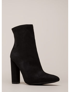 Easy Win Chunky Faux Suede Booties by Go Jane