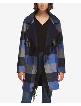 Plaid Fringe Trim Jacket, Created For Macy's by Dkny