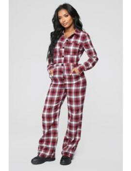 Camping Outdoors Plaid Jumpsuit   Red by Fashion Nova