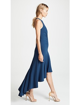 Sleeveless High Neck Ruched Gown by Halston Heritage