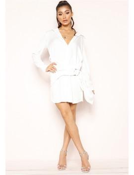Jaydean White Wrap Detail Shirt Dress by Missy Empire