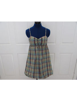 Junior's Bcx Green Multicolor Plaid Bubble Dress Sz M (Preown) by Bcx