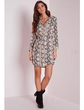 Long Sleeve Snakeskin Shirt Dress Stone by Missguided