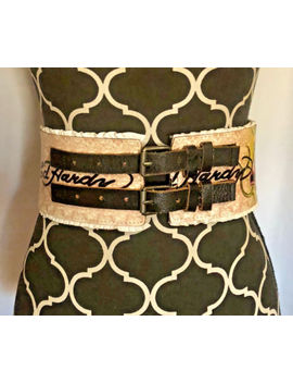 Ed Hardy Love Slowly Kills Skull Heart Multicolor Leather Adjustable Belt Sz M by Ed Hardy