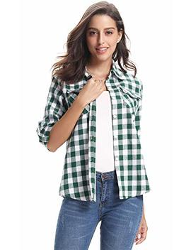 Abollria Women's Roll Up Long Sleeve Boyfriend Button Down Plaid Flannel Shirt (S Xxl by Abollria