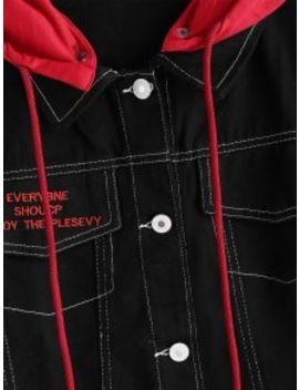 Contrasting Detachable Hood Denim Jacket   Black by Zaful