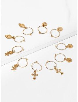 Rose Detail Hoop Drop Earrings 5pairs by Romwe