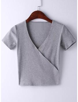 Grey Short Sleeve Cross V Neck T Shirt by Romwe