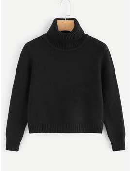 High Neck Solid Sweater by Romwe