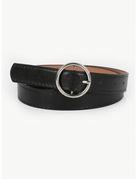 Ring Buckle Pu Belt by Romwe