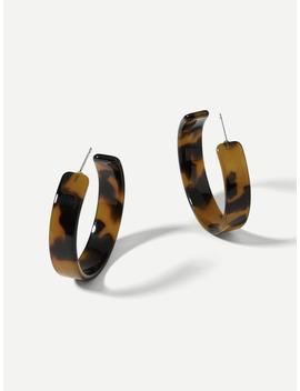 Marble Pattern Open Hoop Earrings by Romwe