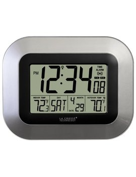 La Crosse Technology Ws 8115 U S Int Atomic Digital Wall Clock With Indoor And Outdoor Temperature by La Crosse Technology