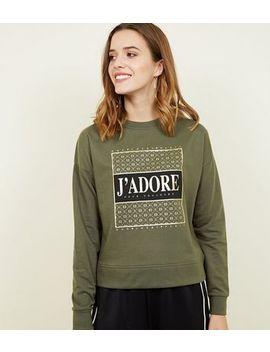 Khaki J'adore Metallic Print Sweatshirt by New Look