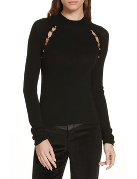 Button Cutout Wool Sweater by Alice + Olivia