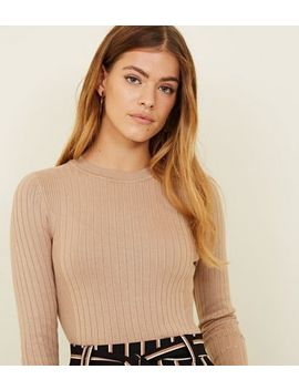 Petite Camel Crew Neck Ribbed Top by New Look