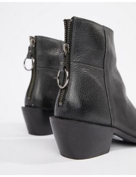 Religion Rhea Black Leather Zipped Back Heeled Ankle Boots by Religion