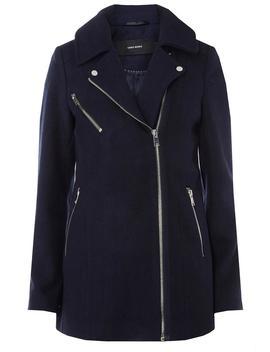 **Navy Wool Biker Jacket by Dorothy Perkins