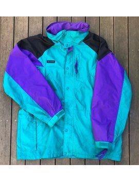 Vintage 90's Columbia Sportswear Company Unisex Large Color Block Ski Jacket Retro Hip Hop Streetwear Columbia Snow Embroidered Windbreaker by Etsy