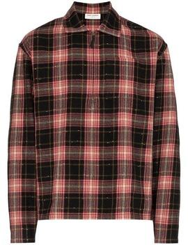 Zip Check Print Shirt by Saint Laurent