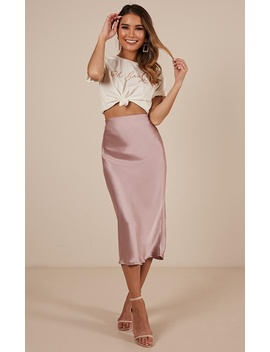 Space Odyssey Midi Skirt In Mauve Satin by Showpo Fashion