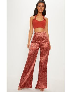 Croc Satin Printed Wide Leg Trouser by Prettylittlething