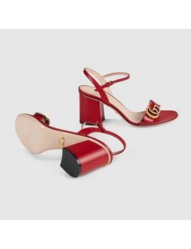 Sandale Aus Leder Mit Mittelhohem Absatz by Gucci