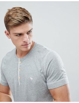 Abercrombie & Fitch Henley T Shirt Contrast Placket Icon Moose Logo In Grey Marl by Abercrombie & Fitch