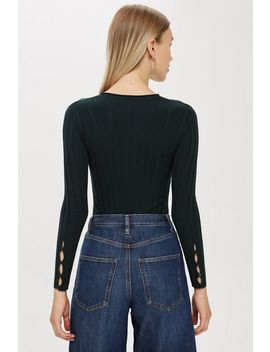 Ribbed Button Sleeve Top by Topshop