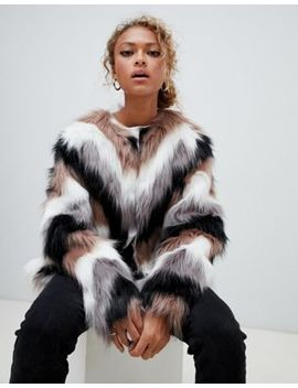 New Look Chevron Faux Fur Coat by New Look