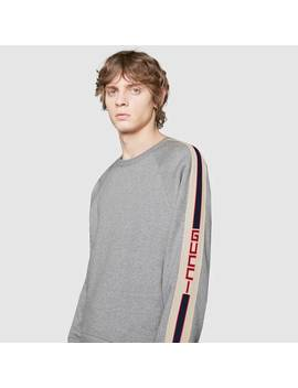Sweat Shirt En Coton Avec Bande Gucci by Gucci
