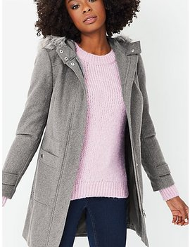 Grey Formal Faux Fur Trim Hooded Coat by Asda