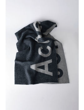 Logo Scarf Navy/Grey by Acne Studios