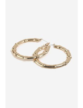 **Oversize Bamboo Effect Hoop Earrings by Topshop