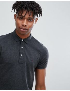 Tommy Hilfiger Icon Flag Logo Slim Fit Pique Polo In Charcoal Marl by Tommy Hilfiger