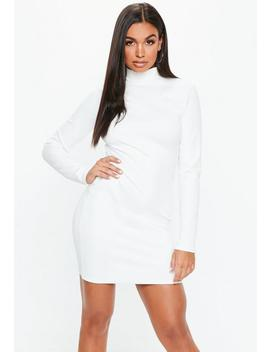 White High Neck Ribbed Mini Dress by Missguided