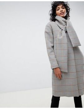 Asos White Check Coat With Neck Tie Detailing by Asos White