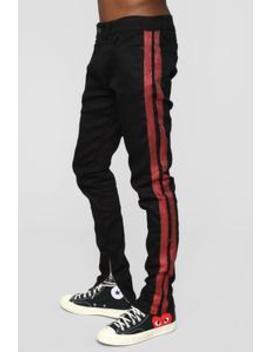 Renzo Skinny Jean   Black/Red by Fashion Nova