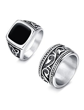 Finrezio 2 Pcs Stainless Steel Rings For Men Vintage Biker Signet & Band Ring Set Size 7 13 by Finrezio