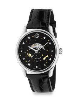 G Timeless Stainless Steel & Leather Strap Analog Watch by Gucci