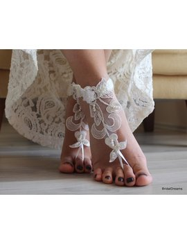 Barefoot Sandals, Beach Wedding Lace Sandals, Bridal Shoes, Ivory Lace Sandals, Wedding Anklet, Bridesmaid Gift, Beach Shoes by Etsy