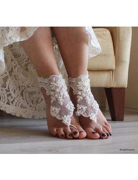 Lace Barefoot Sandals, Bridal Footless Sandals, Vintage Lace Shoes, Bridesmaid Barefoot Sandals, Beach Wedding Sandal, Shoes by Etsy