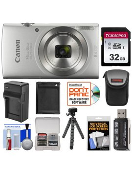 Canon Power Shot Elph 180 Digital Camera (Silver) With 32 Gb Card + Battery & Charger + Case + Flex Tripod + Reader + Kit by Canon