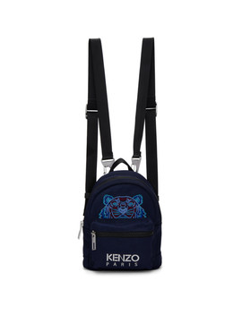 Navy Mini Tiger Backpack by Kenzo