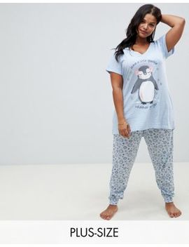Yours Penguin Sparkle Long Pyjama Set by Yours