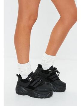 Black Super Chunky Sole Utility Sneakers by Missguided