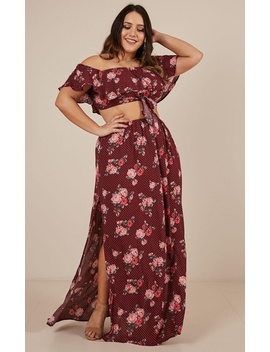 Double Take Two Piece Set In Wine Floral by Showpo Fashion